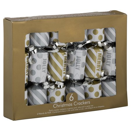 JAM English Christmas Crackers, Gold & Silver Striped/Polka Dot, 6/Pack ()