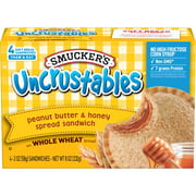 Smucker's Uncrustables Peanut Butter & Honey Spread Sandwich on Whole Wheat, Pack of 4