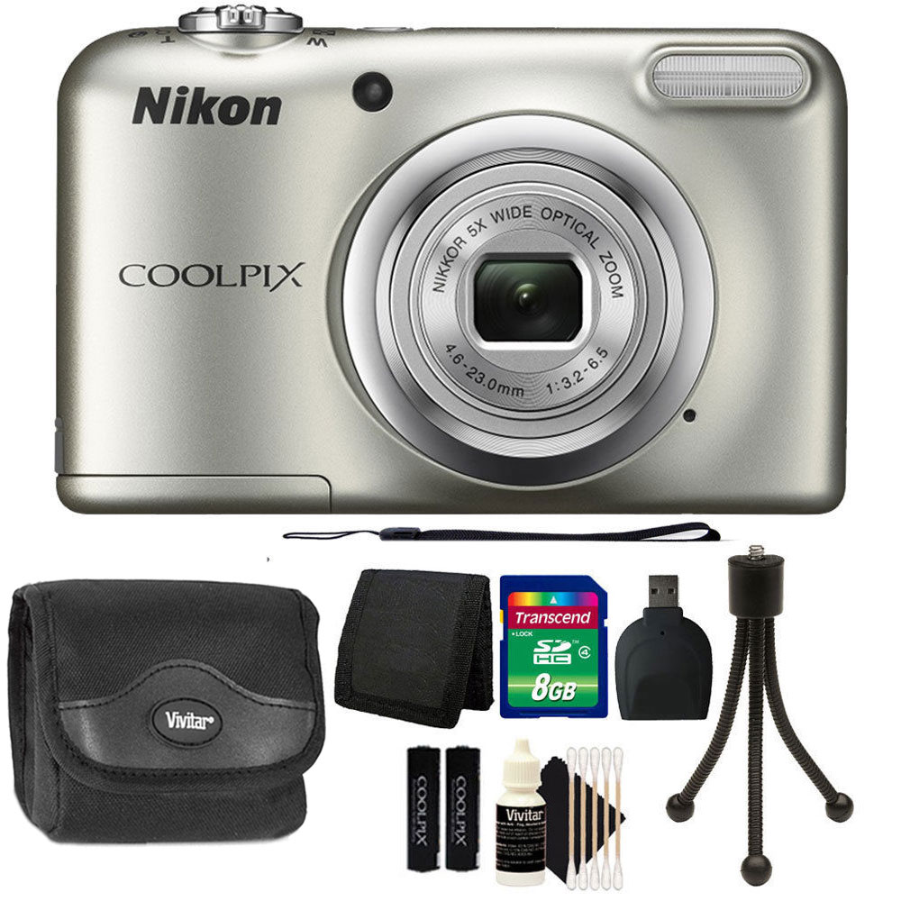 Nikon COOLPIX A10 16.1 MP Compact Digital Camera + Top Value Accessory Bundle - Silver