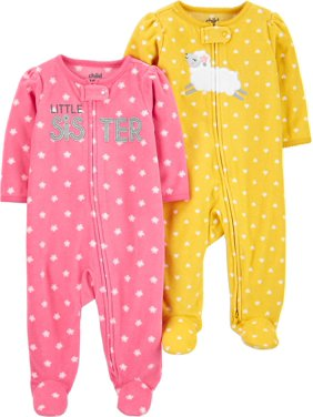 Child of Mine by Carter's Baby Girls Microfleece Sleep 'N Play Pajamas, 2-Pack (Preemie-9M)