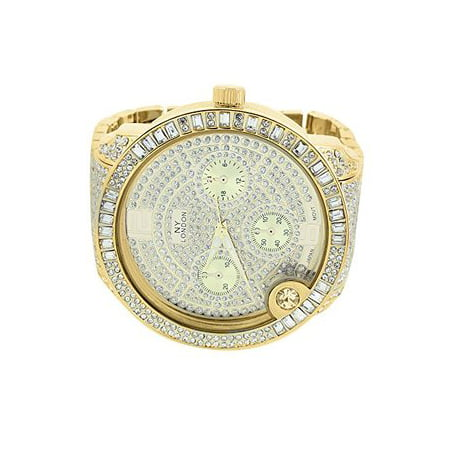 Bug Watch - Mens Gold Tone Watch NY London Baguette Lab Created Cubic Zirconia Big Round Face Iced Out Jojo