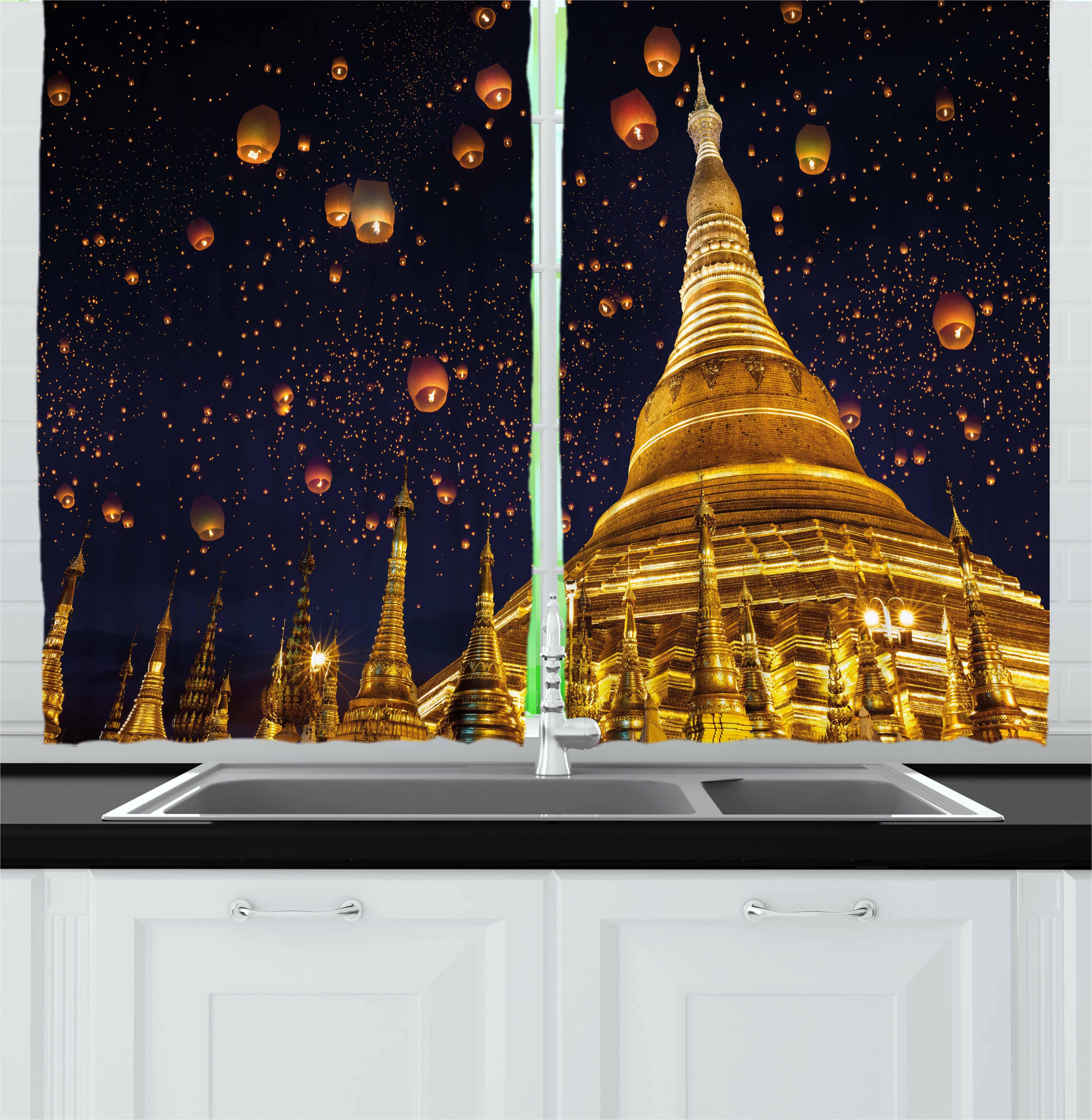 Lantern Curtains 2 Panels Set, Shwedagon Pagoda Yangon
