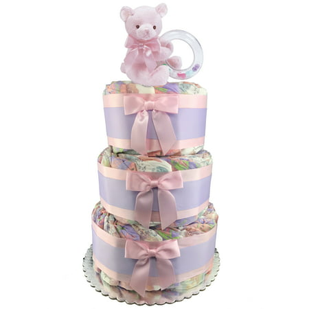 Eco-Friendly Teddy Bear 3-Tier Diaper Cake - 50 Honest Size 1 Diapers - Girl Baby Shower Gift - Pink and Purple - Dipper Cake