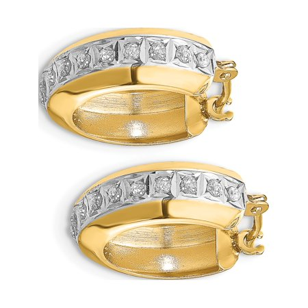 14k Yellow Gold Diamond Fascination Round Huggy Hinged Hoop (5x16mm) Earrings - image 1 of 3