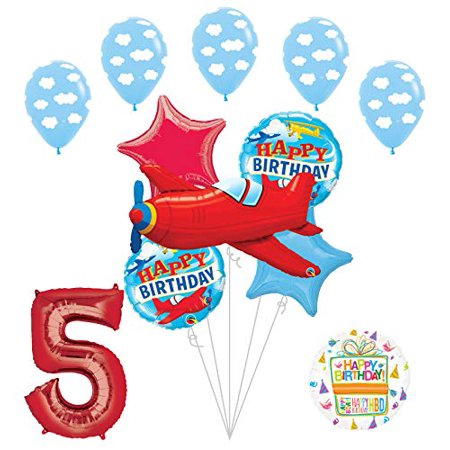 Airplane 5th Birthday Party Supplies Vintage Plane Balloon Bouquet Decorations