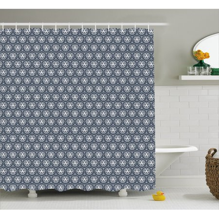 Japanese Shower Curtain Attached Hexagons With Ornate Floral