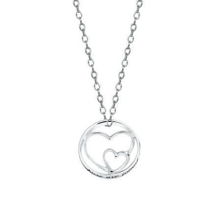 "Sterling Silver ""Mothers and Daughters"" Double Heart Pendant Necklace , 18"""