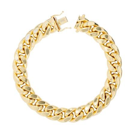 10K Yellow Gold Mens 13mm Hollow Miami Cuban Link Chain Bracelet, 7.5
