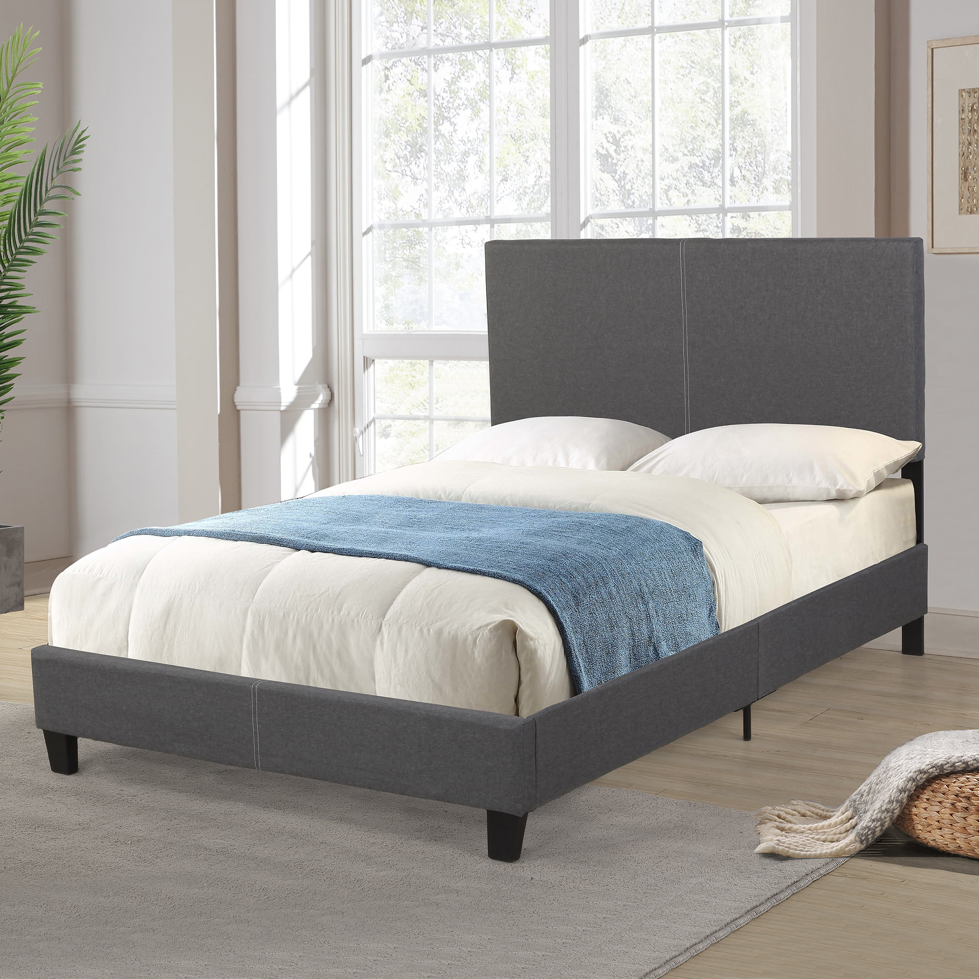 Full Size Bed Frame with Headboard, Faux Linen Upholstered Wood