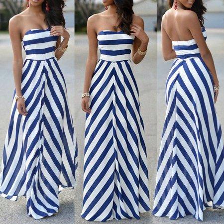 Stripe Seaside Beach Dress Sundress Wholesale Women Summer Sexy Long Maxi Party Sleeveless Stomacher Dress