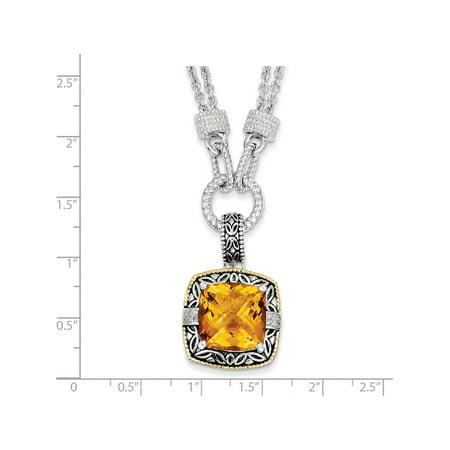 14k / argent deux tons w / Citrine et diamants Collier - image 1 de 2