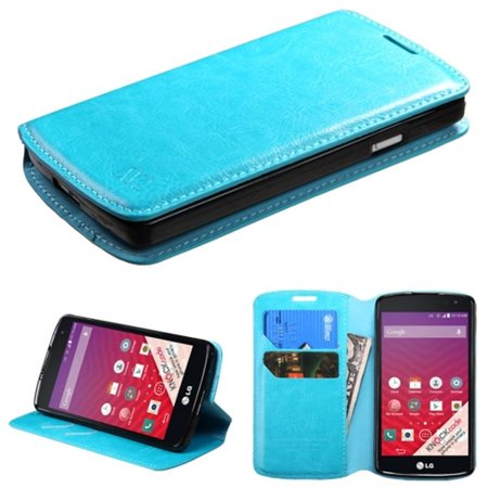 Insten Folio Leather Wallet Fabric Stand Case with Card slot For LG Tribute - Blue - image 3 de 3
