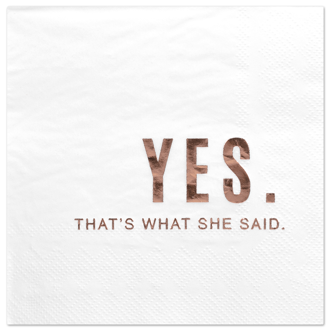 Koyal Wholesale Yes Thats What She Said, Funny Quotes Cocktail Napkins, Rose Gold Foil, Bulk 50 Pack Count 3 Ply Napkins