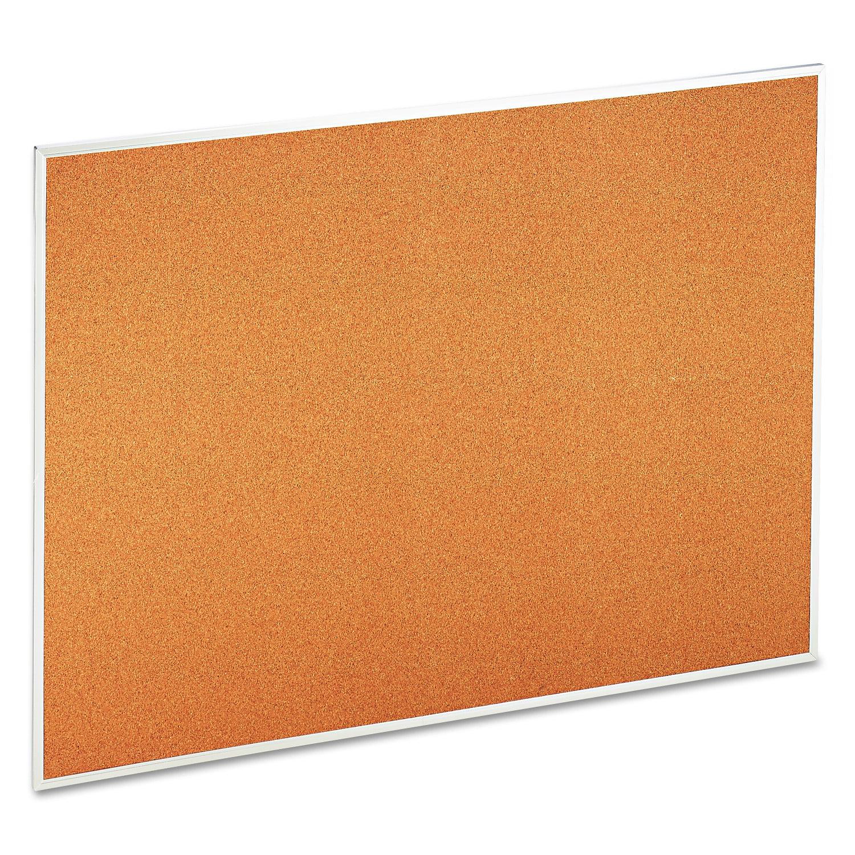 "Universal Natural Cork Bulletin Board, 48"" x 36"", Satin-Finished Aluminum Frame"