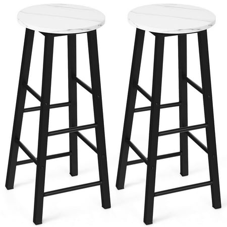 Gymax Set of 2 Pub Dining Height Bar Stool Bistro Table Chairs Faux Marble Top White Stool Cafeteria Table