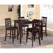 Roundhill Furniture Poka 5 Piece Rectangular Counter Height Dining Table Set