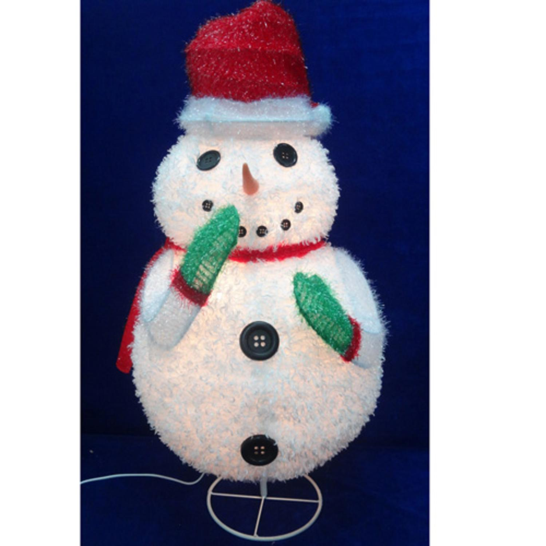 "24"" Pre-Lit Outdoor Chenille Snowman Wearing Santa Hat Christmas Outdoor Decoration"