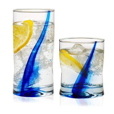 - Blue Ribbon Impressions 16-Piece Tumbler and Rocks Glass Set, Unique four-dimpled shape is easy to grip and fits snugly in hand By Libbey