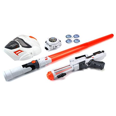 Future Space Warrior Deluxe Children Kid's Toy Activity Roleplay Pretend Playset w/ Light Up Sword Saber, Blaster, Mask, Disc Shooting Wrist Watch - Kids Light Toys