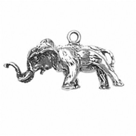 "Sterling Silver 7"" 4.5mm Charm Bracelet With Attached 3D African Elephant Charm With Moveable Head"
