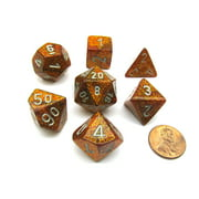 Chessex Polyhedral 7-Die Glitter Dice Set - Gold with Silver Numbers #27503