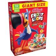Kellogg's Froot Loops Breakfast Cereal, Original, Giant Size, Low Fat Food, 27oz