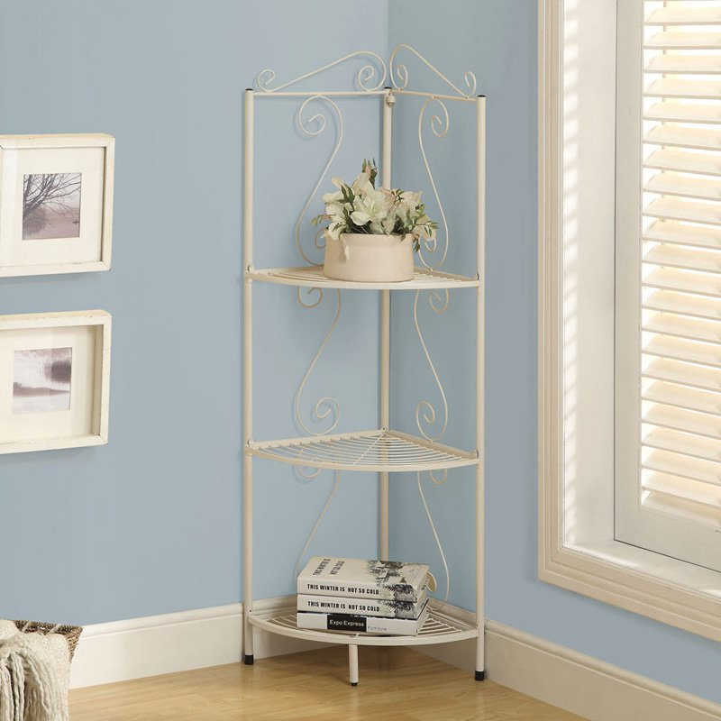 "Monarch Bookcase 70""H / White Hammered Metal Corner Etagere"