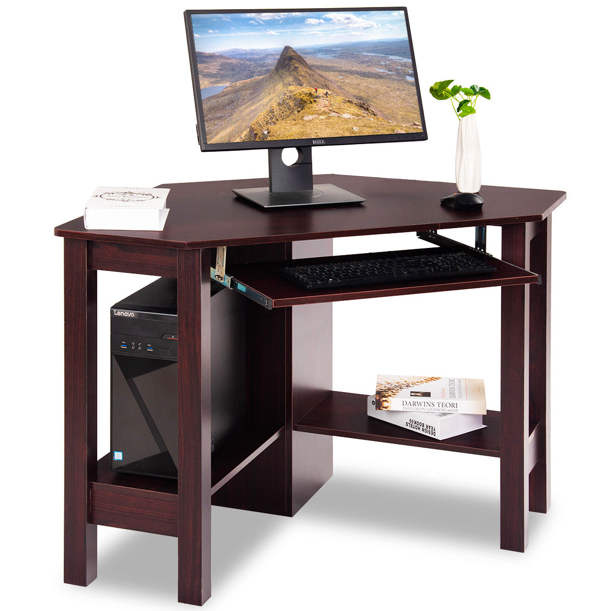 costway wooden corner desk with drawer computer pc table study office room brown. Black Bedroom Furniture Sets. Home Design Ideas