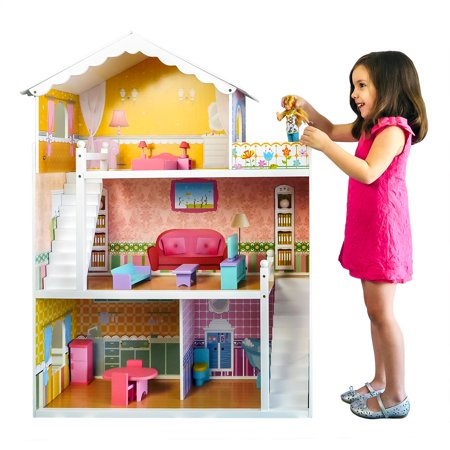 Best Choice Products Large Childrens Wooden Dollhouse Fits Barbie Doll House Pink w/ 17 Pieces of