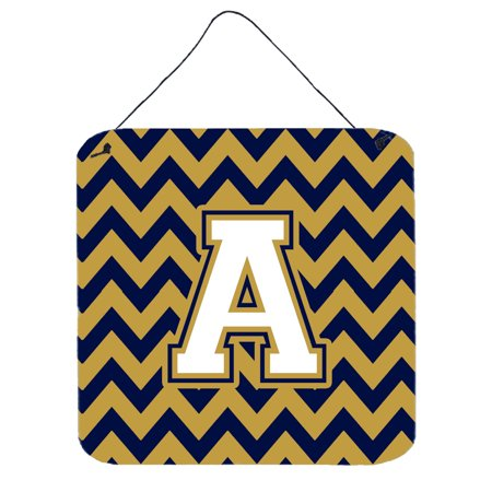 Letter A Chevron Navy Blue and Gold Wall or Door Hanging Prints CJ1057-ADS66 (Navy Blue Door)