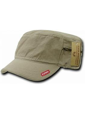 RapDom Plain Vintage Washed Patrol Mens Cadet Cap with Zipper [Khaki - Adjustable]