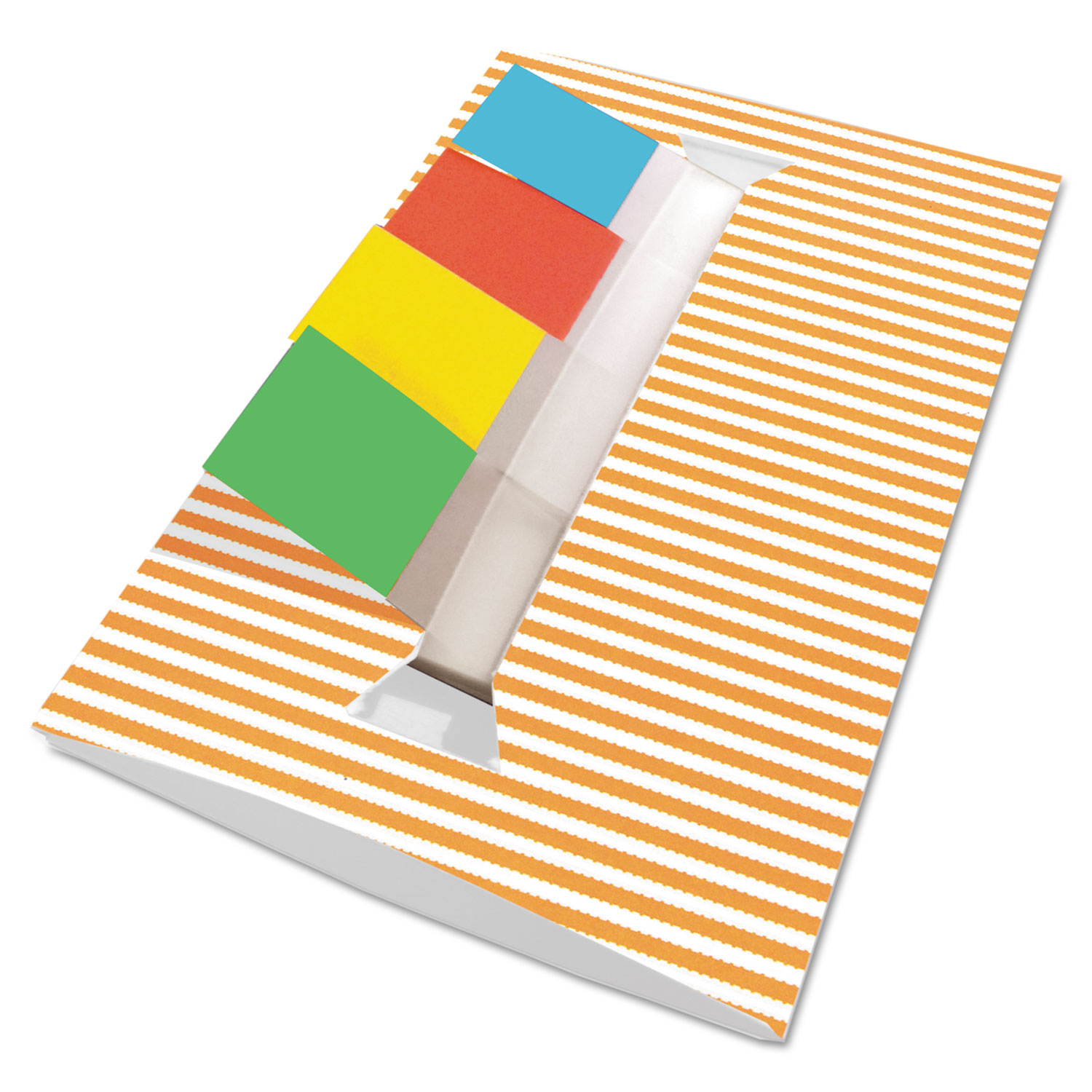 Orange Stripe Designer Pop-Up Page Flag Dispenser, 4 Pads of 35 Flags Each
