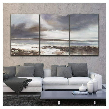 wall26 - 3 Panel Canvas Wall Art - Oil Painting Style Coastal Landscape - Giclee Print Gallery Wrap Modern Home Decor Ready to Hang - 16