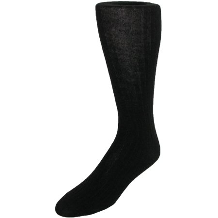 Mens Merino Wool Mid Calf Dress Socks, Black