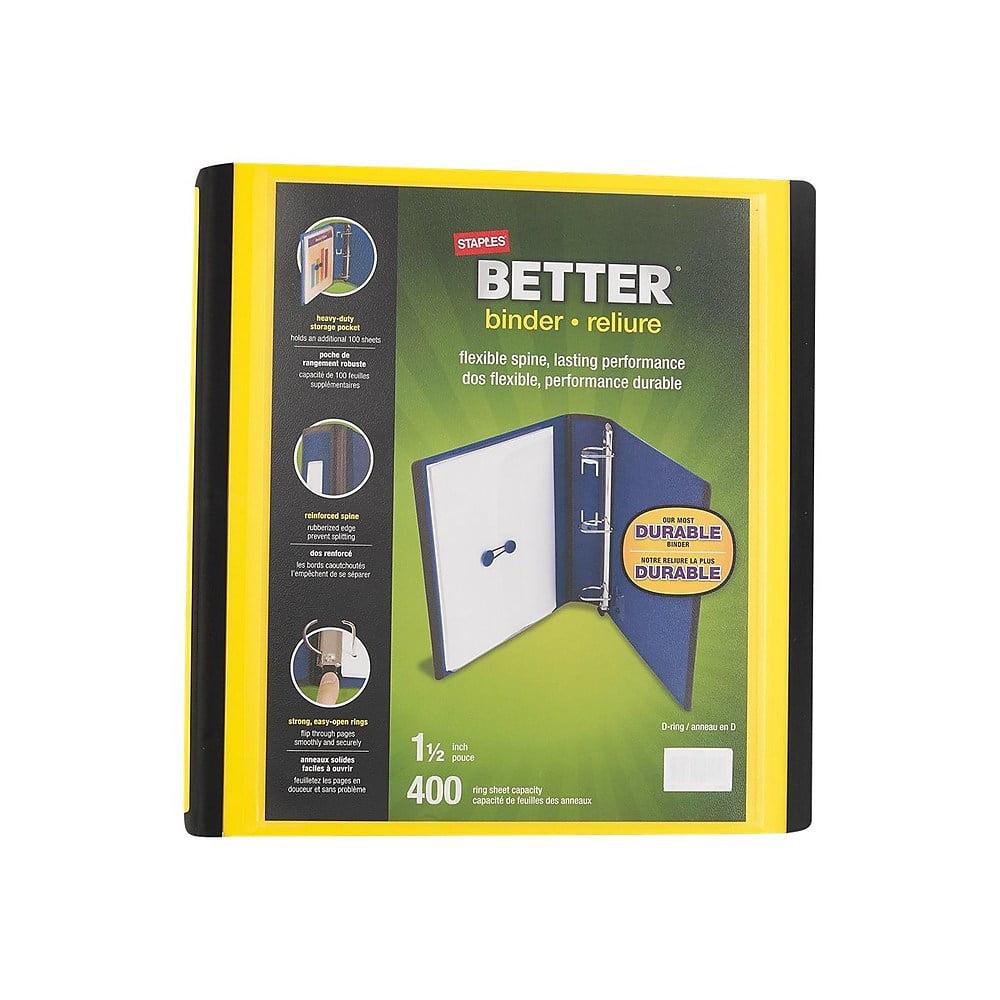 "Staples 1.5"" D-Ring Better Binder Yellow (19060) 827605"