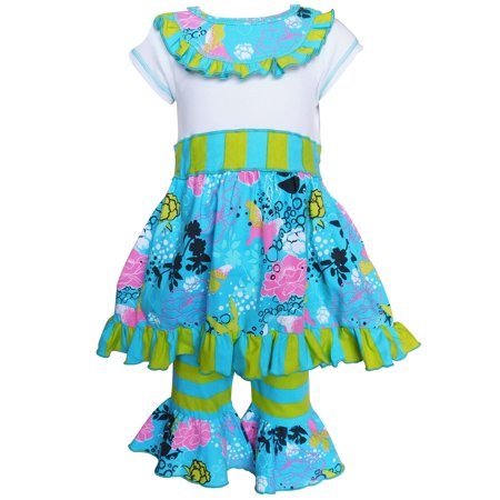 AnnLoren Girls Spring Teal Butterfly Dress & Stripe Capri Outfit Clothing Set