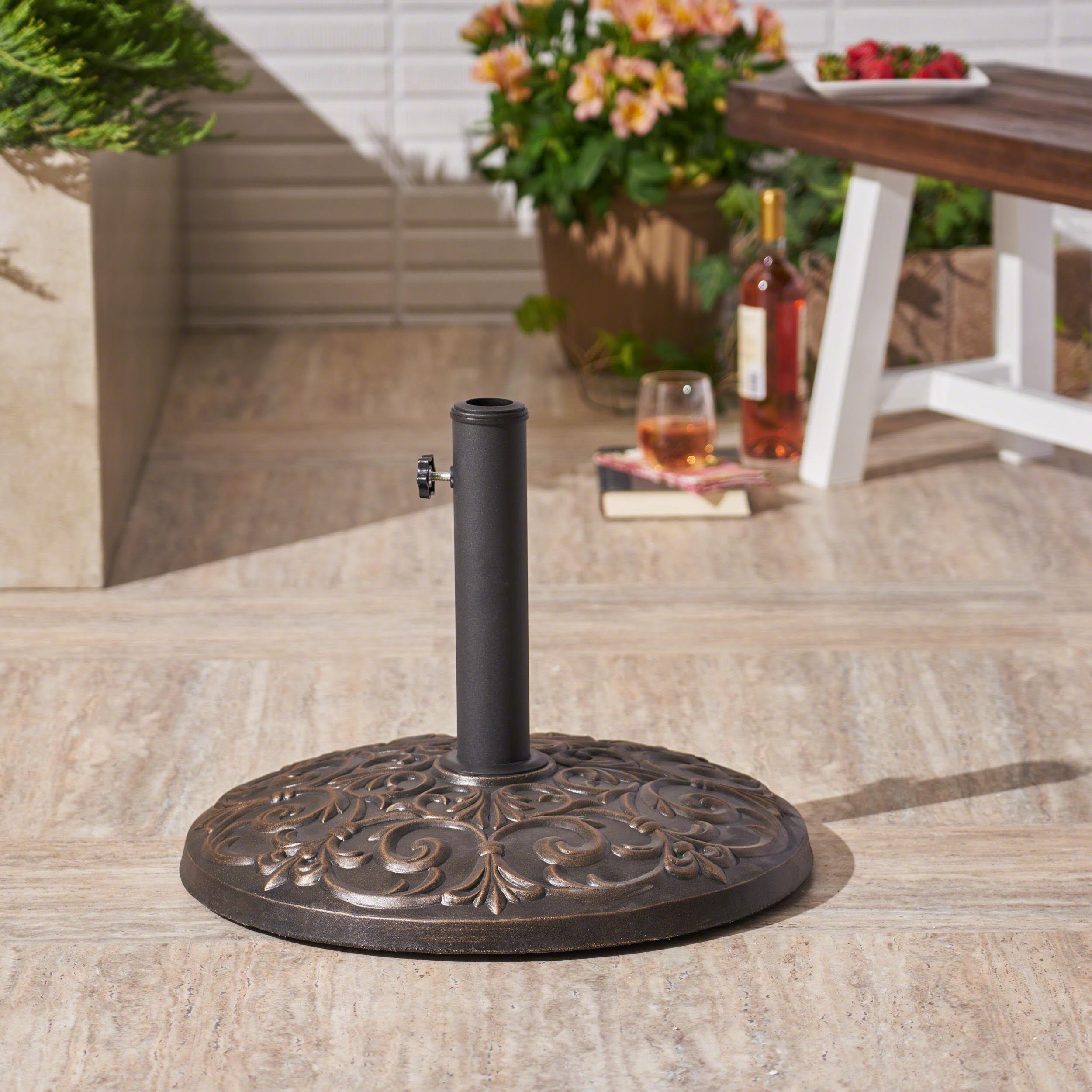 Rosado Outdoor 60lb Concrete Circular Umbrella Base, Hammered Dark Copper