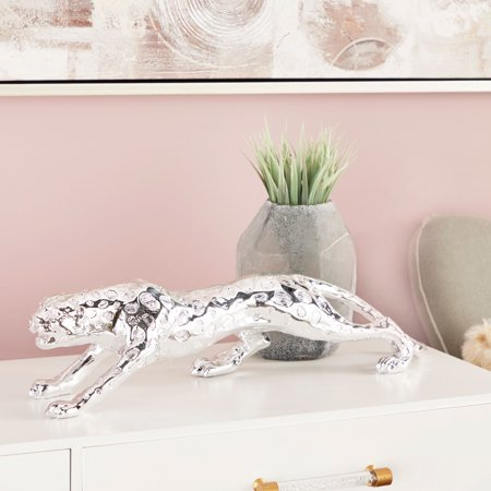 """CosmoLiving Large Metallic Silver Leopard Statue 
