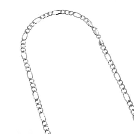14k 22 White Solid Gold 4.5mm Diamond Cut Classic Figaro Chain Necklace with Lobster Clasp (Solid Gold Figaro Chain For Men)