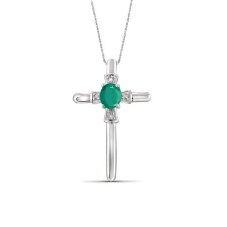 JewelersClub 1/4 Carat T.G.W. Emerald And Accent White Diamond Sterling Silver Cross Pendant Emerald Religious Cross