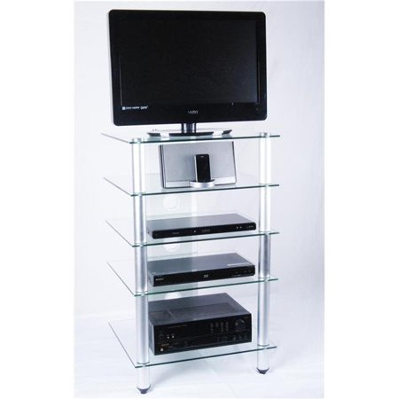 - Tier One Designs T1D-137TV 25 in. and Below Clear Glass TV Stand & Audio Rack