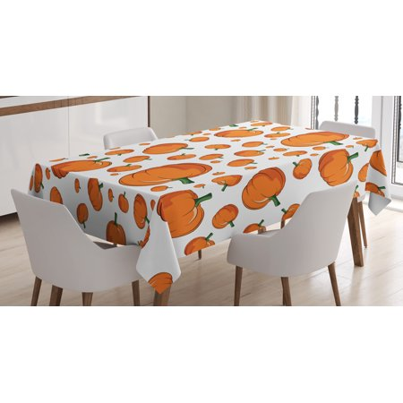 Harvest Tablecloth, Halloween Inspired Pattern Vivid Cartoon Style Plump Pumpkins Vegetable, Rectangular Table Cover for Dining Room Kitchen, 60 X 90 Inches, Orange Green White, by Ambesonne](Pumpkin Pattern)