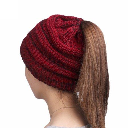 Codream - Womens Winter Hats Warm Knitted horsetail Lady Wool Hat - Walmart .com f9d8b2a0643