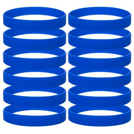 GOGO 12 PCS Silicone Wristbands for Kids, Rubber Bracelets, Party Favors-Royalblue (Rubber Bands For Bracelets)
