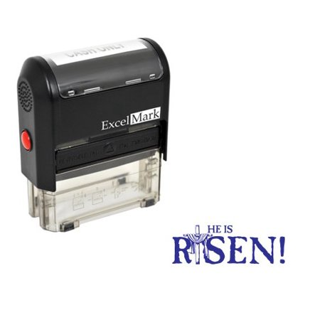 Easter Rubber Stamp - He Is Risen Stamp - Blue Ink
