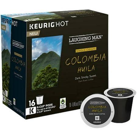 Laughing Man Keurig Hot Colombia Huila Dark Roast Coffee K-Cup Pods, .45 oz, 16 count