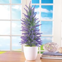 Collections Etc Faux Lavender Tree in White Pot, Purple