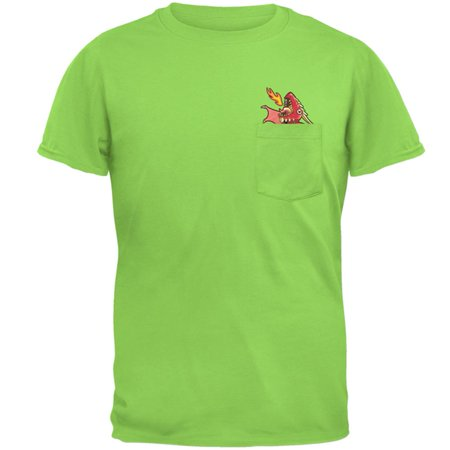 Whimsical World Of Pocket Dragons (Red Dragon RAWR Pocket Pet Mens Pocket T)