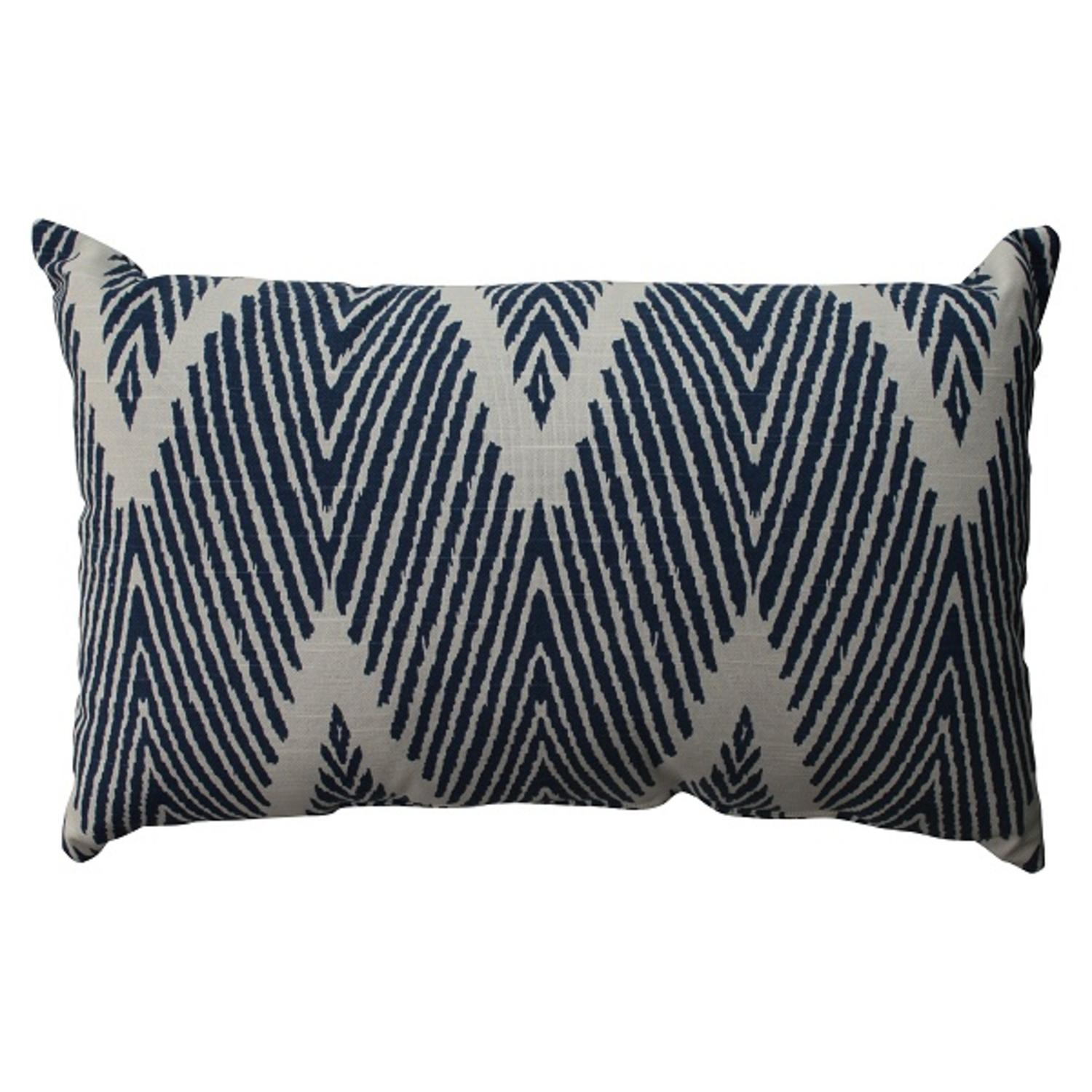 "18.5"" Navy Zig Zag Zebra Print Decorative Rectangular Throw Pillow"