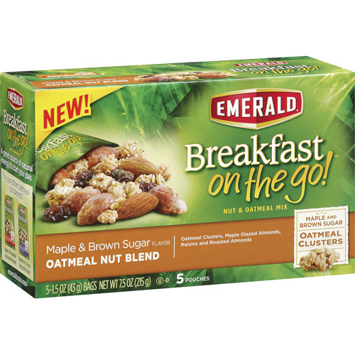 Emerald Breakfast on the Go! Maple & Brown Sugar Oatmeal Nut Blend, 5-Pack